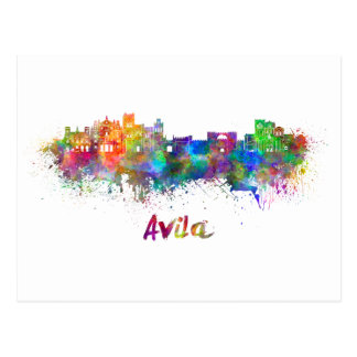 Avila skyline in watercolor postcard