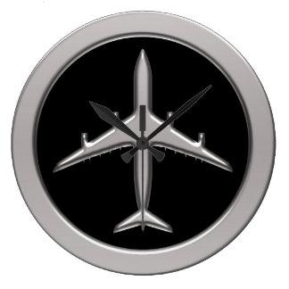Avion de chrome grande horloge ronde