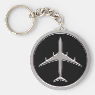 Avion de chrome porte-clé rond