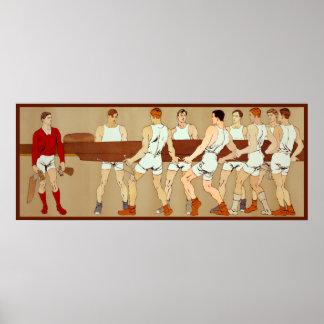 Aviron du bateau d'aviron vintage de fans de sport poster
