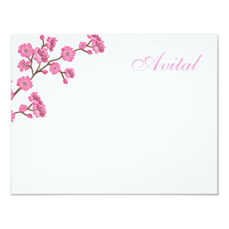 Avital Pink Blossoms Bat Mitzvah Thank You Card