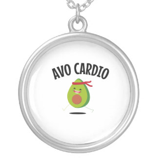 Avo Cardio Funny Avocado Workout Vegan Diet Silver Plated Necklace