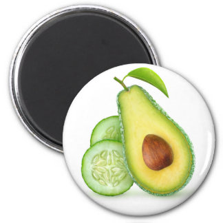Avocado and cucumber 2 inch round magnet