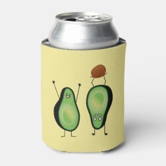 Avocado funny cheering handstand green pit can cooler