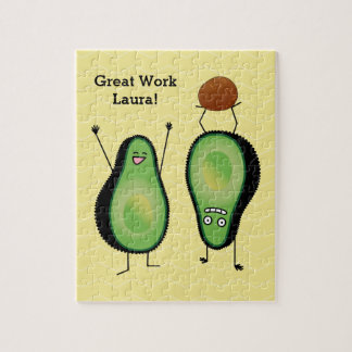 Avocado funny cheering handstand green pit jigsaw puzzle