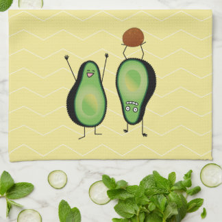 Avocado funny cheering handstand green pit kitchen towel
