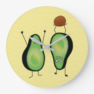 Avocado funny cheering handstand green pit large clock