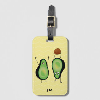 Avocado funny cheering handstand green pit luggage tag