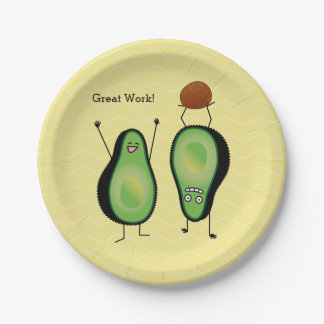 Avocado funny cheering handstand green pit paper plate