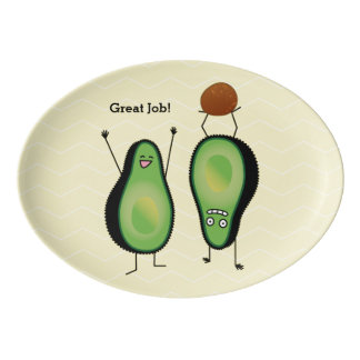 Avocado funny cheering handstand green pit porcelain serving platter