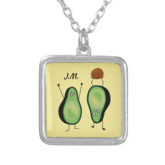 Avocado funny cheering handstand green pit silver plated necklace