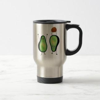 Avocado funny cheering handstand green pit travel mug