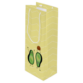 Avocado funny cheering handstand green pit wine gift bag