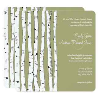 Avocado Green Birch Tree Wedding Invitations