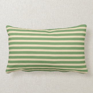 Avocado Green Cream Stripe Indoor Lumbar Pillow