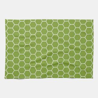 Avocado Green Honeycomb Hexagon Geometric Pattern Kitchen Towel
