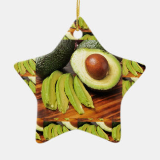 AVOCADO healthy foods ingredient sauces chutney Ceramic Star Ornament