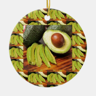 AVOCADO healthy foods ingredient sauces chutney Round Ceramic Ornament