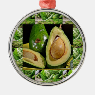 AVOCADO healthy foods ingredient sauces chutney Silver-Colored Round Ornament