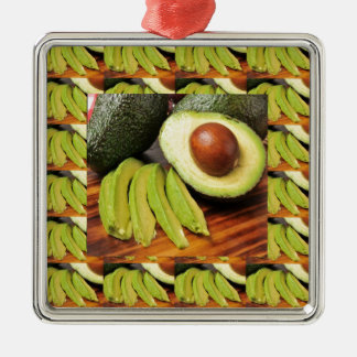 AVOCADO healthy foods ingredient sauces chutney Silver-Colored Square Ornament