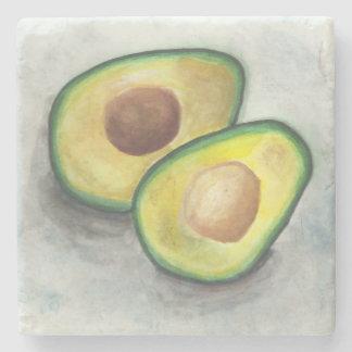 Avocado in Watercolor Stone Beverage Coaster