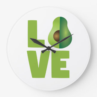 Avocado Love Food Vegan Vegetarian Healthy Large Clock