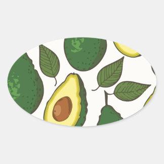 Avocado pattern oval sticker