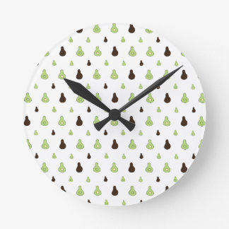 Avocado Pattern Round Clock