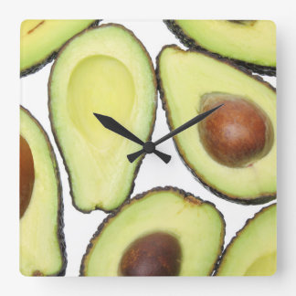 Avocado Pattern Square Wall Clock