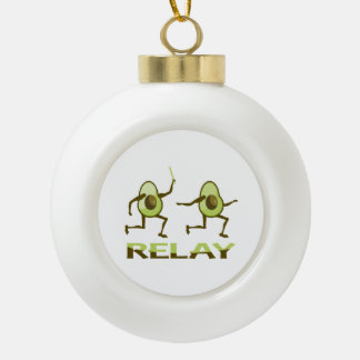 Avocado Relay Runners Ceramic Ball Christmas Ornament