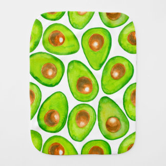 Avocado slices watercolor burp cloth