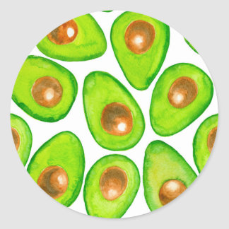 Avocado slices watercolor classic round sticker