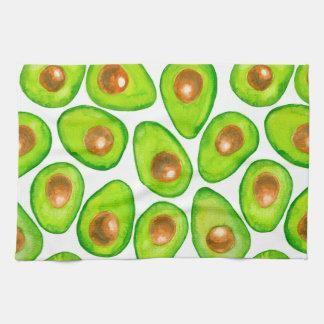 Avocado slices watercolor kitchen towel