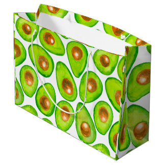 Avocado slices watercolor large gift bag