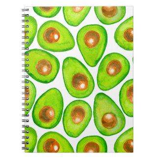 Avocado slices watercolor notebook
