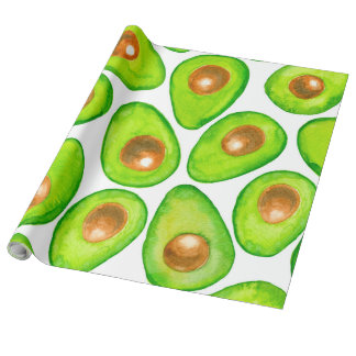 Avocado slices watercolor wrapping paper