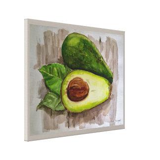 Avocado Still Life Watercolor Canvas Print 20x16