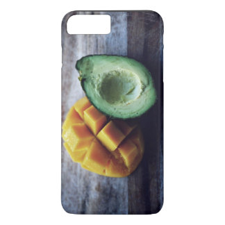 Avocado Themed, A Peeled And Cut Mango Next To  A iPhone 7 Plus Case