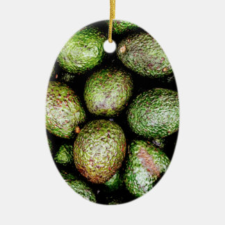 Avocados Ceramic Oval Ornament