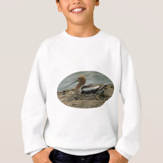 Avocet With Long Nose And Red Head Bedded In Nest Sweatshirt