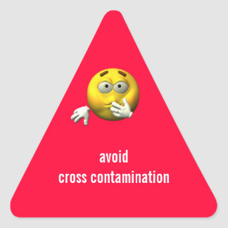 Avoid cross contamination triangle sticker