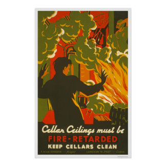 Avoid Fire Clean Cellar 1937 WPA Poster