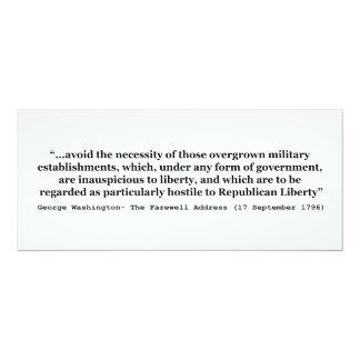 "Avoid Overgrown Military Establishments Washington 4"" X 9.25"" Invitation Card"