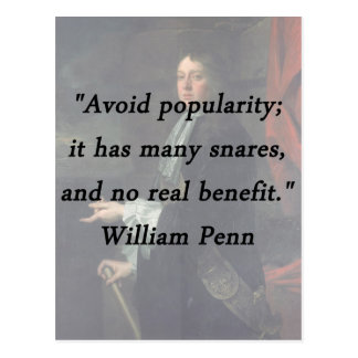 Avoid Popularity - William Penn Postcard