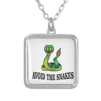 avoid the snakes silver plated necklace