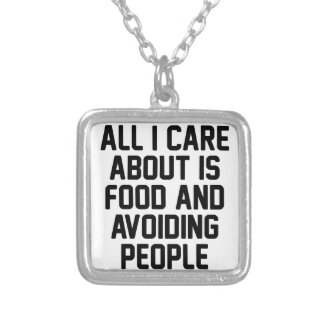 Avoiding People Silver Plated Necklace