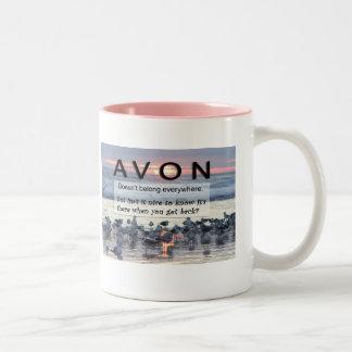 AVON Pink Ringed Coffee Mug
