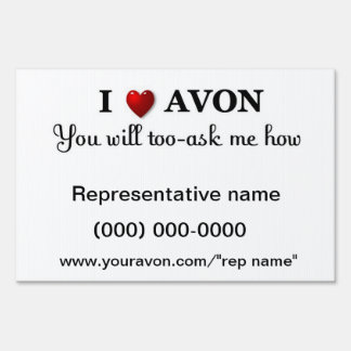 AVON representative yard sign