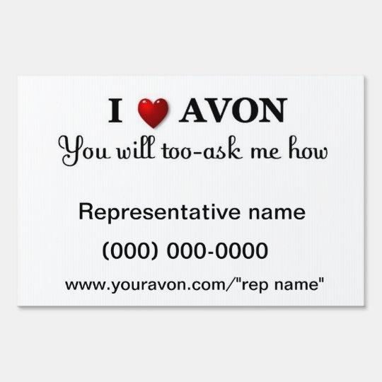 AVON representative yard sign