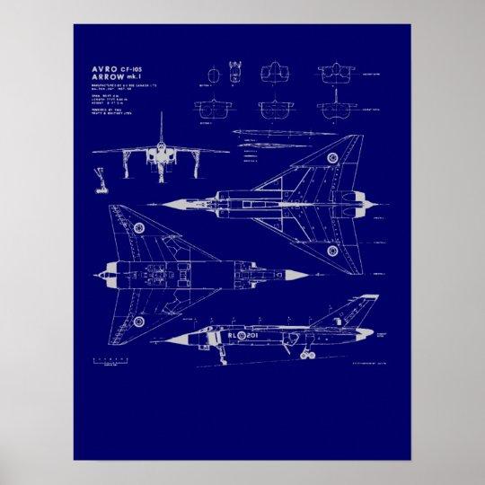 Avro Arrow Blueprint Poster Zazzle Ca